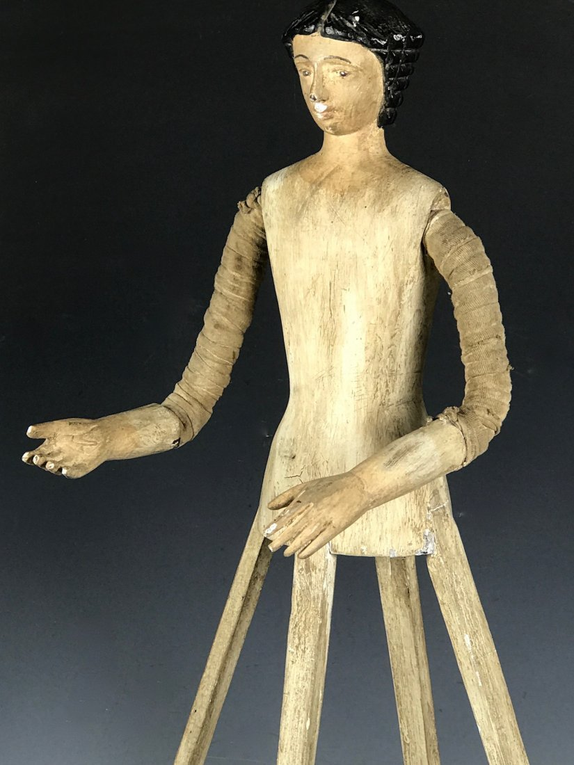 Carved Wood Mannequin Cage Doll - 5