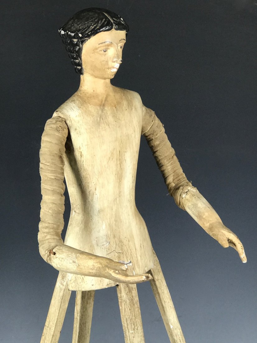 Carved Wood Mannequin Cage Doll - 6