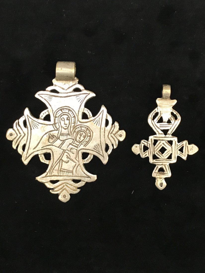 Set of 2 Ethiopian Metal Coptic Cross Pendant