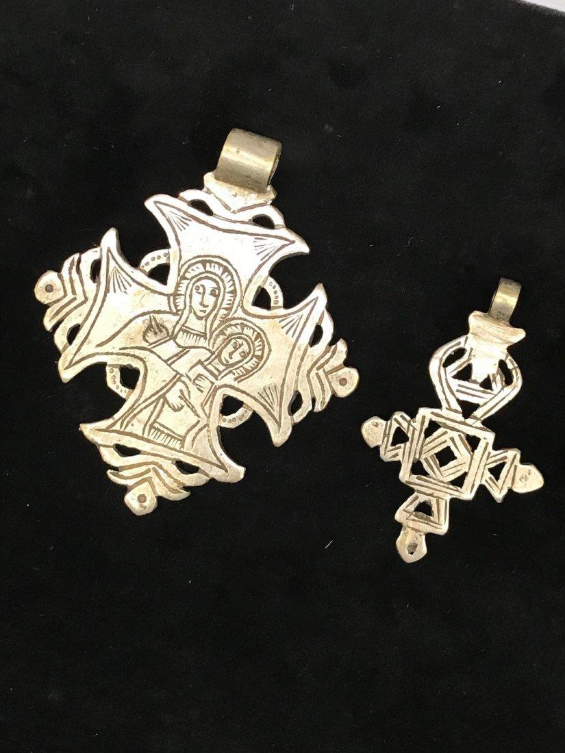 Set of 2 Ethiopian Metal Coptic Cross Pendant - 2