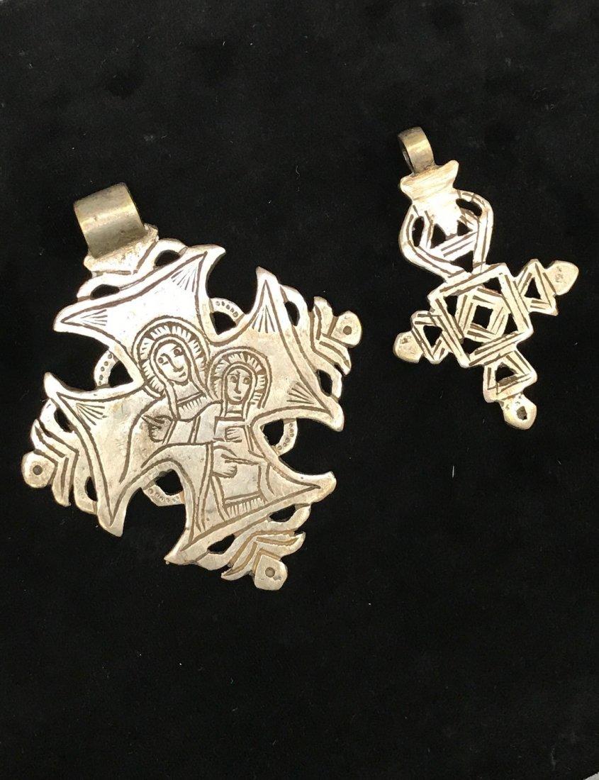 Set of 2 Ethiopian Metal Coptic Cross Pendant - 3