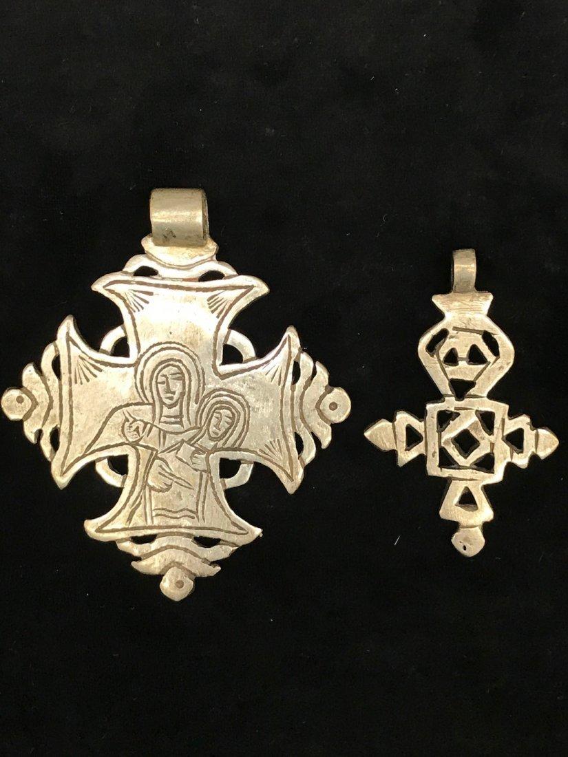 Set of 2 Ethiopian Metal Coptic Cross Pendant - 6