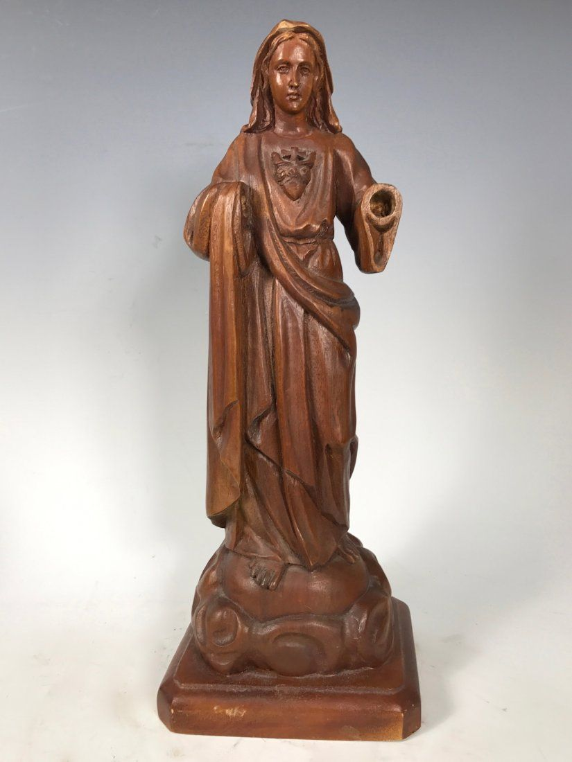 Carved Wood Religious Sacred Heart Sculpture