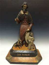 Carved Polychrome Wood San Roque Statue