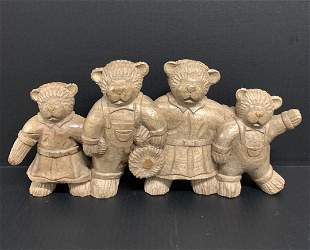 Carved Wood Paper Mache Mold Teddy Bear Family