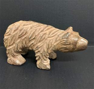 Carved Wood Paper Mache Mold Bear Sculpture