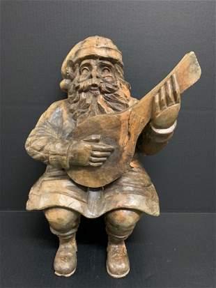 Carved Wood Paper Mache Mold Santa Claus Sculpture