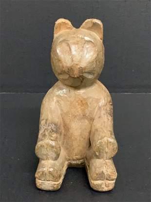 Carved Wood Paper Mache Teddy Bear Sculpture