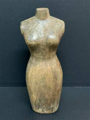 Carved Wood Paper Mache Mold Female Torso Sculpture