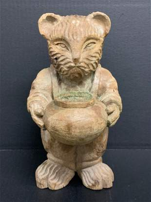 Carved Wood Paper Mache Mold Teddy Bear Sculpture