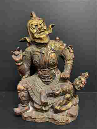 Chinese Art Large Cast Iron Warrior Sculpture