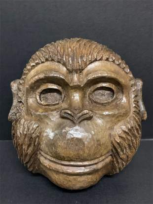Carved Wood Paper Mache Mold Monkey Face Sculpture