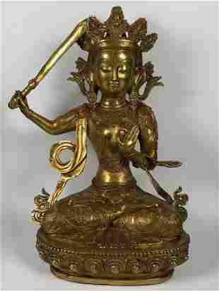 Chinese Art Gold Gilt Bronze Sitting Buddha