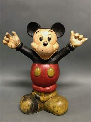 Vintage Carved Wooden Folk Art Toy Mickey Mouse