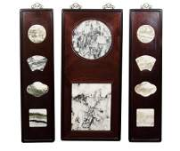 Set of 3 Wall Screen Rosewood Panel with Dream Stone