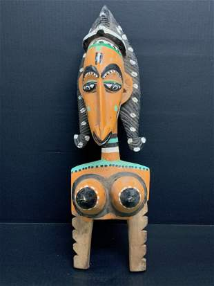 African Art Painted Bozo Puppet Statue