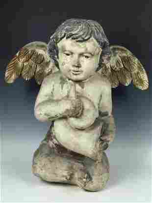 Vintage Sitting Angel Sculpture