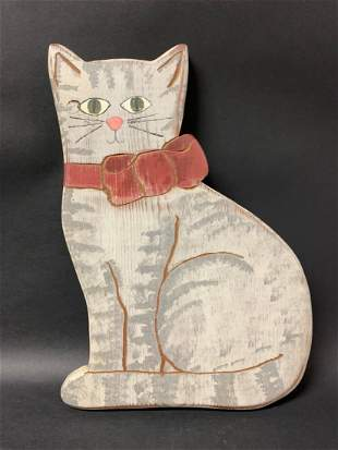 American Wooden Folk Art Painted Cat