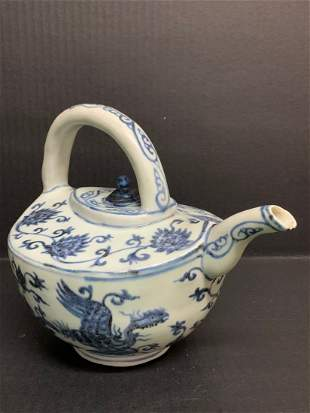 Chinese Art Blue and White Porcelain Teapot