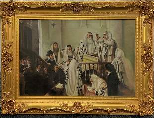 Oil Painting of Judaica in Canvas