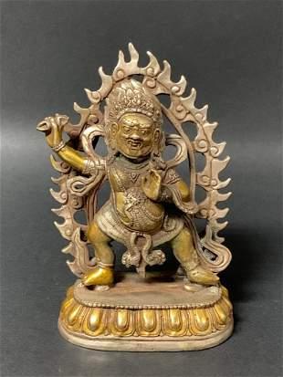 Tibetan Art Bronze Lucky Charm Buddha Sculpture