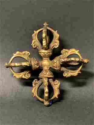 Tibetan Art Bronze Phurba Ritual Dagger