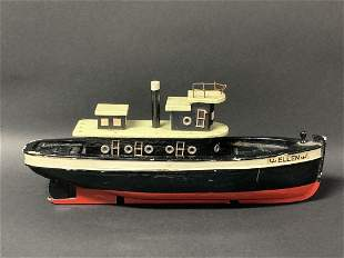 American Wooden Folk Art Toy Painted Ship