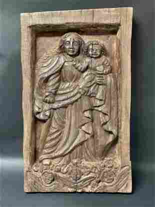 Antique Carved Heavy Solid Wood Religious Plaque