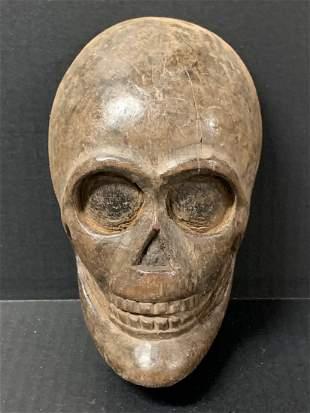 Vintage Carved Wood Paper Mache Mold Skull
