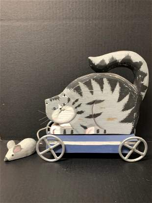 American Wooden Folk Art Painted Cat and Mouse