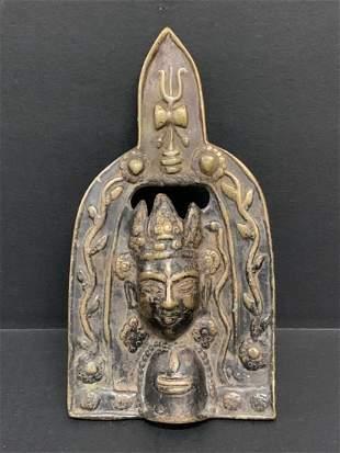 Vintage Southeast Asian Art Bronze Prayers Plaque