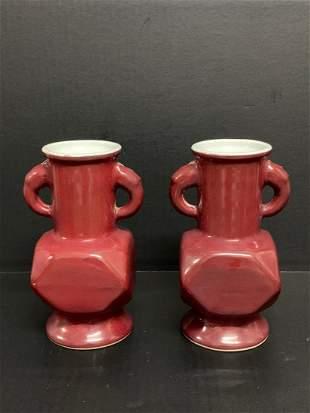 Pair of Chinese Art Porcelain Oxblood Vase
