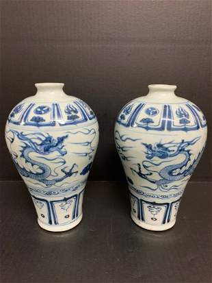 Pair of Chinese Art Porcelain Blue and White Vase