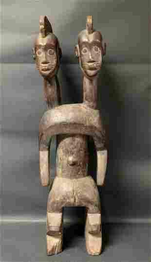 African Art Mumuye Double Head Statue