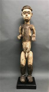 Large Ibo Standing Statue with Wooden Base