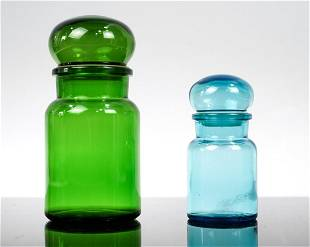 Pair of Belgian Made Colored Glass Containers Green and
