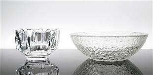 Orrefors Crystal Scalloped Bowl/Icicle Glass Bowl