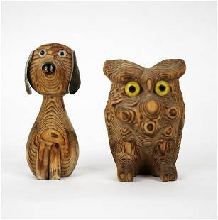 Small Dog and Owl Japanese Burl Wood Figurines Made in