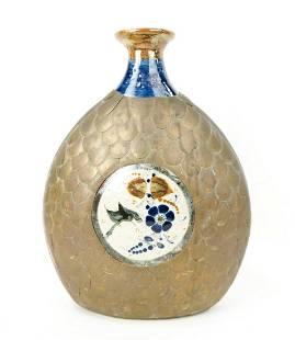 Ceramic Vase Wrapped in Brass Scales Ceramic vase with