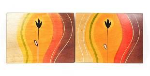 Pair of Kakadu Signed Wooden Art Panels Signed on the