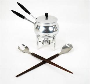 Puralum Fondue Pot and Japanese Steel Utensils Made of