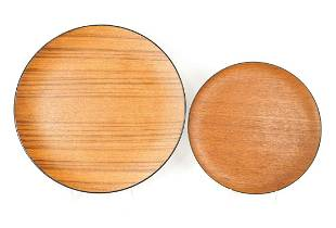 Pair of Maison Int. Wooden Serving Plates One plate is