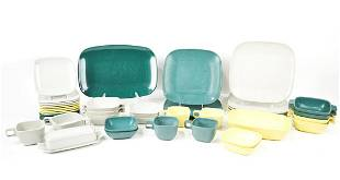 Set of Arrowhead Plastic Dishes in Teal, Yellow Mostly