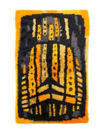 """Black and Orange Shag Rug Measures 82.5"""" long and 54"""""""