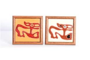 Pair of Wall Hanging Enamel Tile Art Pieces