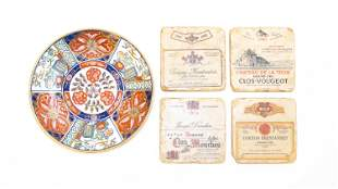 Lot of Painted Japanese Plate and Four Stone Coasters