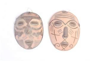 Pair of Glazed Clay Masks