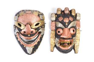 Pair of Nepalese Wooden Masks w/ Metal Accents