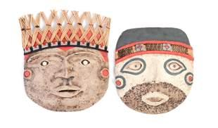Pair of Woven Peruvian Masks