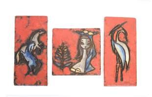 Set of Three Vintage Painted Ceramic Earthenware Art